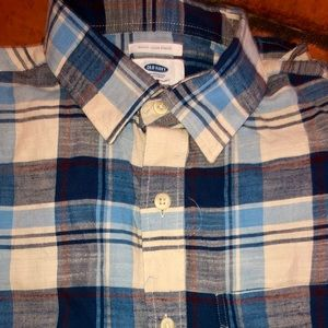 NWOT men's Old Navy casual blue plaid flannel -M